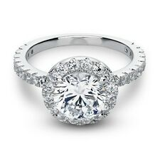 3.00 Ct Brilliant Round Cut Halo Engagement Ring Solid 14K White Gold size 5-10