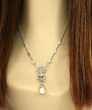 LAVISH 18K WHITE GOLD, DIAMONDS & SOUTH SEA PEARL LADIES DRESS COCKTAIL NECKLACE