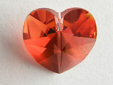 1 x padparadscha14x14mm faceted Heart Swarovski Crystal Bead