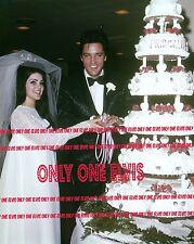 ELVIS & PRISCILLA PRESLEY 1967 8x10 Photo LAS VEGAS WEDDING Cutting the Cake