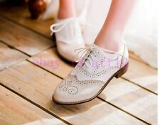 Fashion Oxford Retro Brogues Girl Preppy Shoes Womens Low Heel Wingtip Lace UP