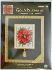 """Nip Dimensions Counted Xstitch Gold Nuggets Kit Poinsettia Elegance 8""""x10"""" #8680"""