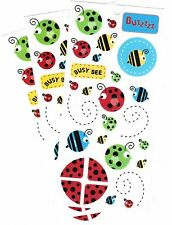 3 Large Sheets DCWV BUZZ Busy Bees Ladybugs Scrapbook Stickers