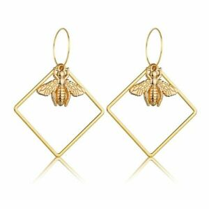 Drop Earrings Dangle Square Insect Ear Stud Jewelry Women Gold Boho Silver Hook
