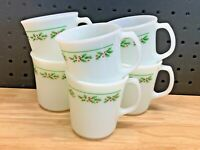 Set of 6 Vintage Corning #16 Holly Days Christmas Holly Milk Glass Mugs