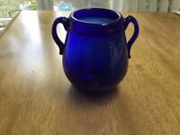 Antique Hand Blown Cobalt Blue Glass Vase/Vessel Lipped & Pontil/Applied Handles