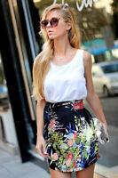 ZARA Black Floral Tulip Summer Silky Mini Wrap Skirt Size S 8-10 Bloggers