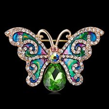 New Gold Plated Vintage Inspired Butterfly Emerald Green White Crystal Brooch