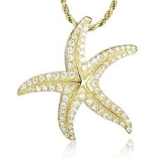 YELLOW GOLD STERLING SILVER 925 BLING CZ HAWAIIAN STARFISH SLIDE PENDANT 24MM