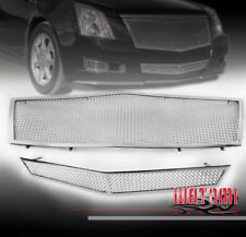 08-13 CADILLAC CTS UPPER + BUMPER STAINLESS STEEL MESH GRILLE CHROME COMBO 2PCS