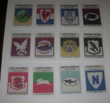 SET 12 SCANLENS 1968 RUGBY LEAGUE LOGO-CREST CARDS ON NEW POSTCARDS,,,