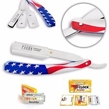 USA FLAG BARBER SALON STRAIGHT CUT THROAT SHAVING RAZOR RASOIRS RASOI BLADES