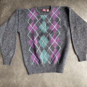 Vintage Cambridge Classics Men's Knit Sweater Purple Green Wool Large Diamonds