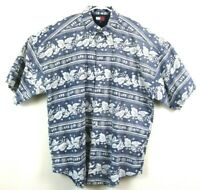 Tommy Hilfiger Mens Shirt Short Sleeve Button Down Blue White Hawaiian Medium