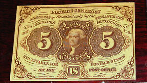 """FR.1230 (1st Issue) 5 cent """"JEFFERSON"""" POSTAGE CURRENCY with ABCO"""