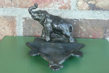 Vintage Cast Metal Elephant Ashtray ~ Trunk Up ~ Means Good Luck