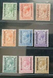 BECHUANALAND 1913 KG V 1/2d to 1s SG 73 - 82 Sc 63 - 91 set 9 MLH/MH