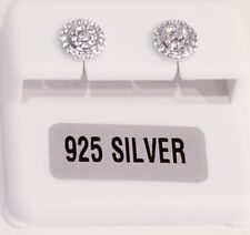 925 STERLING SILVER 1/4 CARAT TW EACH EARRING MICRO PAVE CIRCLE CZ STUD EARRINGS