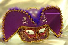 Mens Light Pirate Hat Theater Mardi Gras Venetian Masquerade Mask - Purple/Gold