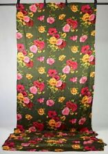 Vtg Soft Luxe Silk Sewing Fabric Olive Floral Print Clothing 46 x 186 / 5 yards