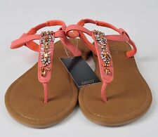 Women's Embellished Jeweled Casual Beach Sandals T Strap Thong Flip Flops Sz 6