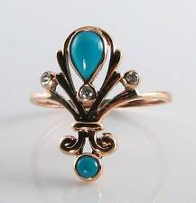 CLASS 9K 9CT ROSE GOLD PERSIAN TURQUOISE & DIAMOND ART DECO INS RING FREE RESIZE