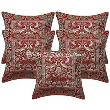 Ethnic Peacock Indian Pillow Case Cover Cotton Maroon Home Decor Cushion 5PCS