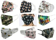 Face Mask Cotton Washable Reusable Mouth Covering Rainbow Skull Rose Ladies Mens