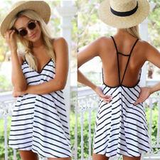 Strandkleid Sommerkleid Spaghetti Trägerkleid Streifen Trend 2017 Gr 34 36 38 40