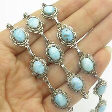 "Antq 925 Sterling Silver Real Larimar Gemstone Handmade Chain Necklace 19"""