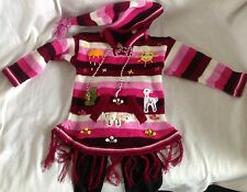 Hand knitted Alpaca Wool Children Sweater dress with fringes and 3D designs