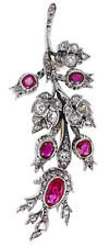 Victorian Look 925 Silver Brooch Pin 3.70cts Rose Cut Diamond Ruby Antique