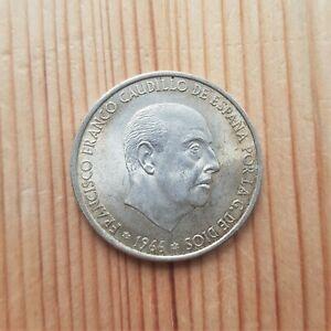 1966 SPAIN SILVER 100 PESETAS COIN - 80% SILVER SPANISH LARGE CROWN COIN