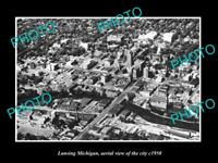OLD LARGE HISTORIC PHOTO OF LANSING MICHIGAN, AERIAL VIEW OF THE CITY c1950