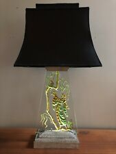 Vintage Regency Table Lamp Etched Carved Glass Slab Illuminated Art Deco Asian