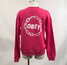 Obey Women's Crew Sweatshirt Jumble Chain Fuchsia Size S NEW Shepard Fairey