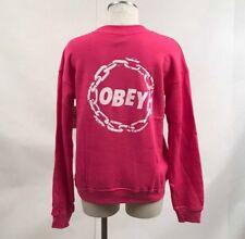 Obey Women's Crew Sweatshirt Jumble Chain Fuchsia Size S NEW Shepard Fairey
