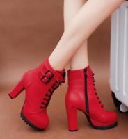 retro womens British style rivet punk block high heel side zip up ankle boots