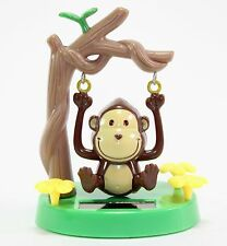 Solar Power TOY - Brown Monkey Swinging from Tree Branch Gift Home Decor