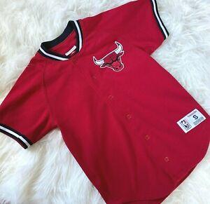 Mitchell & Ness NBA Chicago Bulls Button-Up Jersey Shirt size Small Red