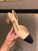 New Fashion Womens Round Toe Sling Back Color Stitching Block Heel Slip On Shoes