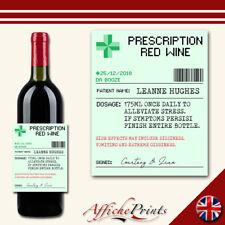 L127 Personalised Prescription Pharmacy Red Wine Novelty Custom Bottle Label