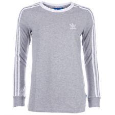 Womens adidas Originals 3-Stripes Long Sleeve T-Shirt In Medium Grey Heather