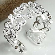 925 Sterling Silver Heart Ring Thumb MidFinger Finger  Adjustable Jewellery UK