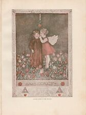 """1914 Color Antique Plate """"A Fairy Story In The Telling"""" print over 100 years old"""