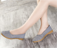 Women Casual Cloth Flat Loafers Espadrilles Round Toe Soft Slip On Walking Shoes