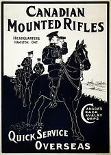 Canadian Mounted Rifles World War 1 Recruiting Poster 12x8 Inch Reprint Ontario
