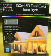 NEW Christmas 150 ct Color Switch Plus Dual Color Changing LED Icicle Lights