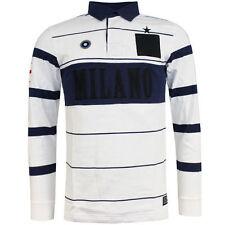 Men's Long Sleeve Striped Polo Regular Collar Casual Shirts & Tops