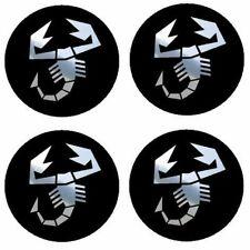 4 adhésifs sticker logo ABARTH chrome de 40 à 100 MM centre de jantes ( FIAT )